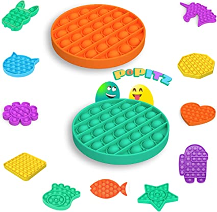 2 Pieces Silicone Squeeze Sensory Toy for Autism Reliever Stress Anxiety Relief Pop Fidget Toy Push Pop Pop Bubble Sensory Fidget Toy Octagon/_Green/_Purple