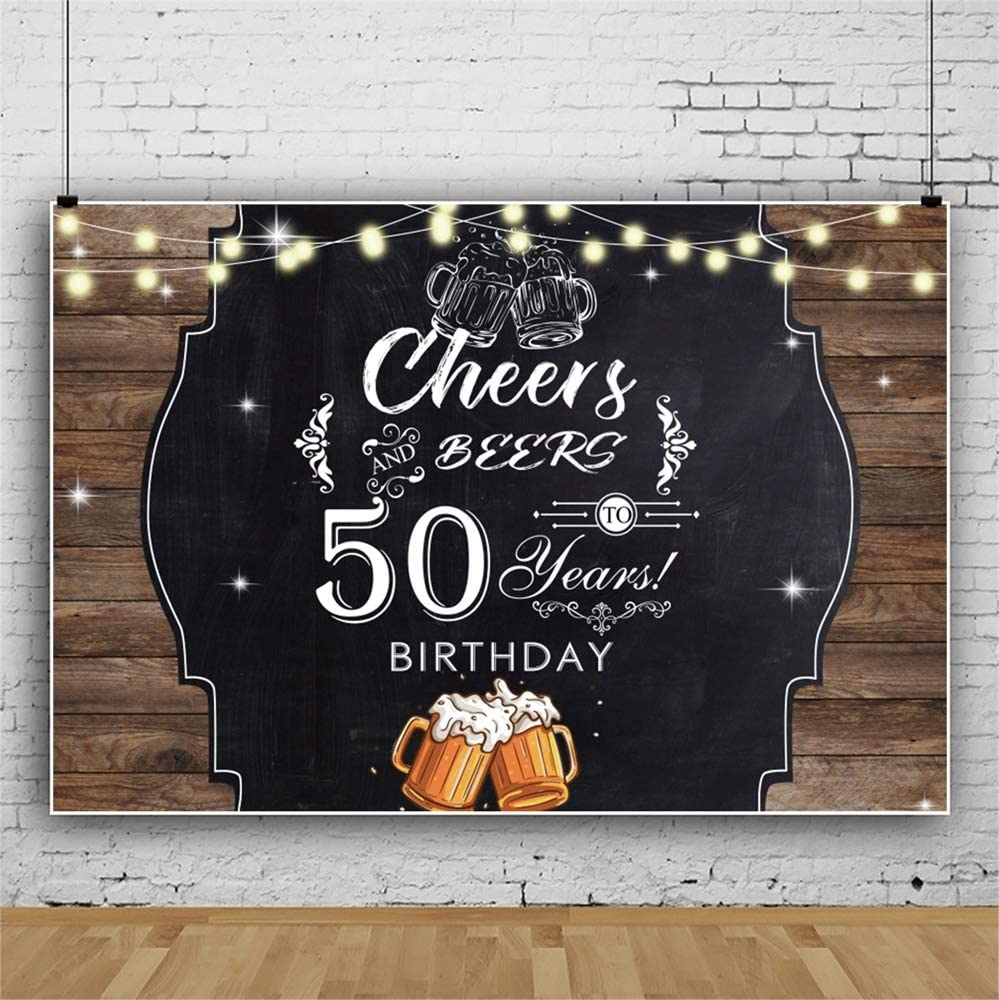Laeacco 8x6.5ft 50 Years Old Birthday Backdrop Happy 50th Birthday Vinyl Background for Photography Vintage Rustic Wood Plank Cheers Beers Birthday Celebration Banner Bday Party Decor Photo Booth