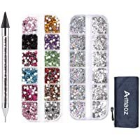 Amaoz Rhinestone Jewel Pickup Tool,Dual-ended Picker Dotting Pen Crystal Studs Wax Pen, Flat Back Gems Round Rhinestones…