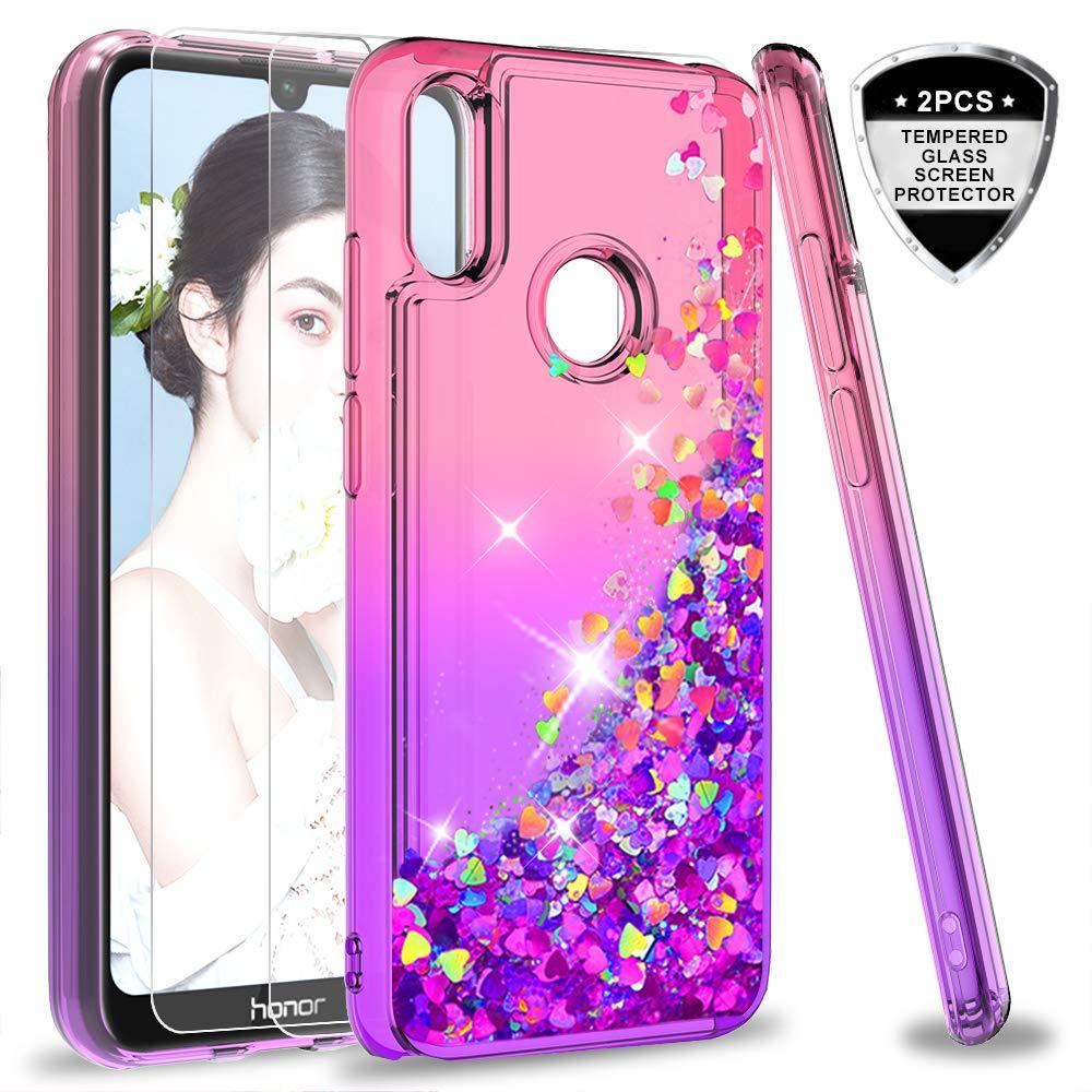 2 Pack ,Brillantini Silicone Sabbie Mobili Bumper Case per Custodie Honor 8A//Y6 2019//Y6 PRO 2019 ZX Pink Purple Gradient LeYi Custodia Huawei Y6 2019//Honor 8A Glitter Cover con Vetro Temperato
