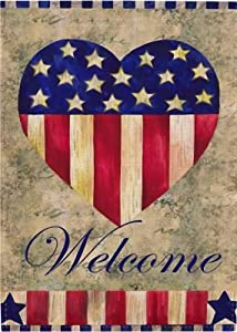 Covido July 4th Welcome Garden Flag, Home Decorative American Flag Patriotic House Yard Decor Heart Sign Spring Summer USA Outside Decoration Vintage Seasonal Outdoor Small Flag Double Sided 12 x 18
