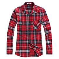 Men's Button Down Long Sleeve Plaid Flannel Shirt