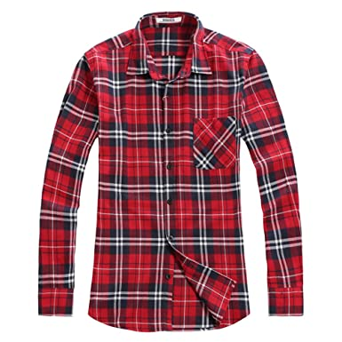 OCHENTA Men's Button Down Long Sleeve Plaid Flannel Shirt at ...