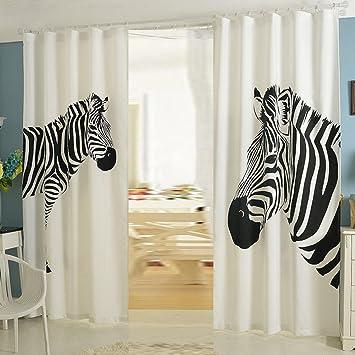Hochwertig NACHEN Vorhänge Wohnzimmer Blackout Schlafzimmer Zebra Vorhang 2 STÜCKE,  Zebra, 130 * 270cm