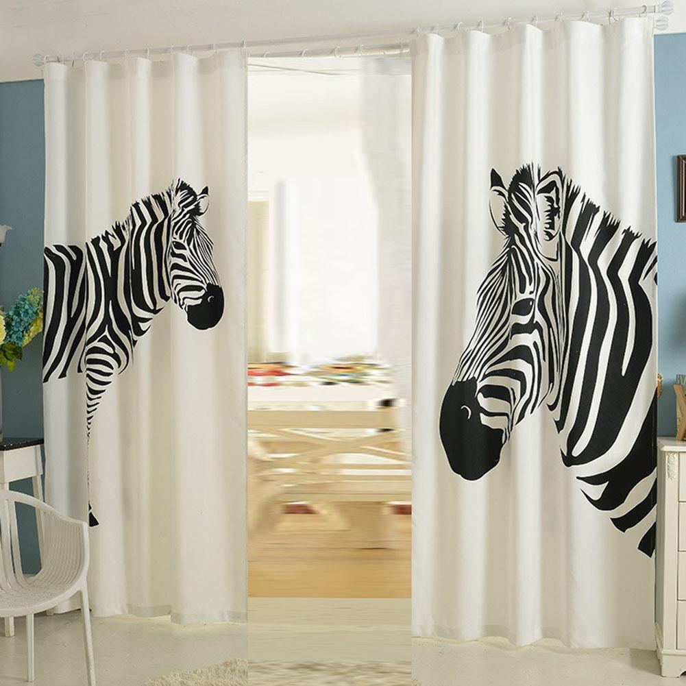 NACHEN Vorhänge Wohnzimmer schwarzout Schlafzimmer Zebra Vorhang 2 STÜCKE, Zebra, 130  270cm