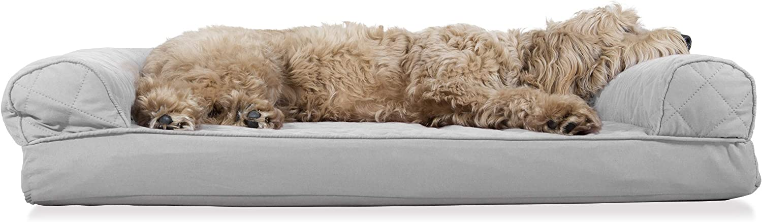 Furhaven Pet Dog Bed - Orthopedic Quilted Traditional Sofa-Style Living Room Couch Pet Bed with Removable Cover for Dogs and Cats, Silver Gray, Large : Pet Supplies