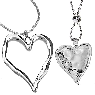 Two large silver heart pendant costume jewellery necklace set design two large silver heart pendant costume jewellery necklace set design aloadofball Choice Image