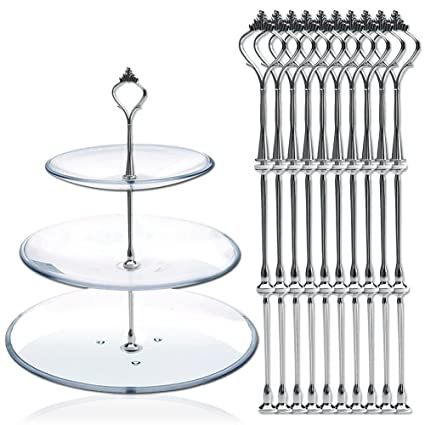 10 x Sets 2 or 3 Tier Cake Plate Stand Fittings Silver Plate Stands by Reelva  sc 1 st  Amazon.com & Amazon.com | 10 x Sets 2 or 3 Tier Cake Plate Stand Fittings Silver ...