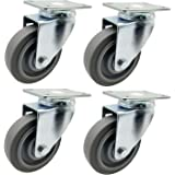 Dr.Luck 4-Inch Gray PU Rubber Double Ball Bearing Swivel Caster Wheel Without