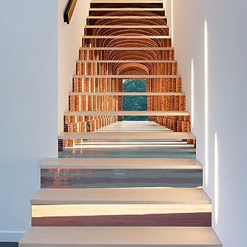 13 Piezas/Juego Estilo Arquitectónico Moderno Impermeable Adhesivo Escalera Pasos Decorativo Desmontable Autoadhesivo 18CN*100CN: Amazon.es: Bricolaje y herramientas