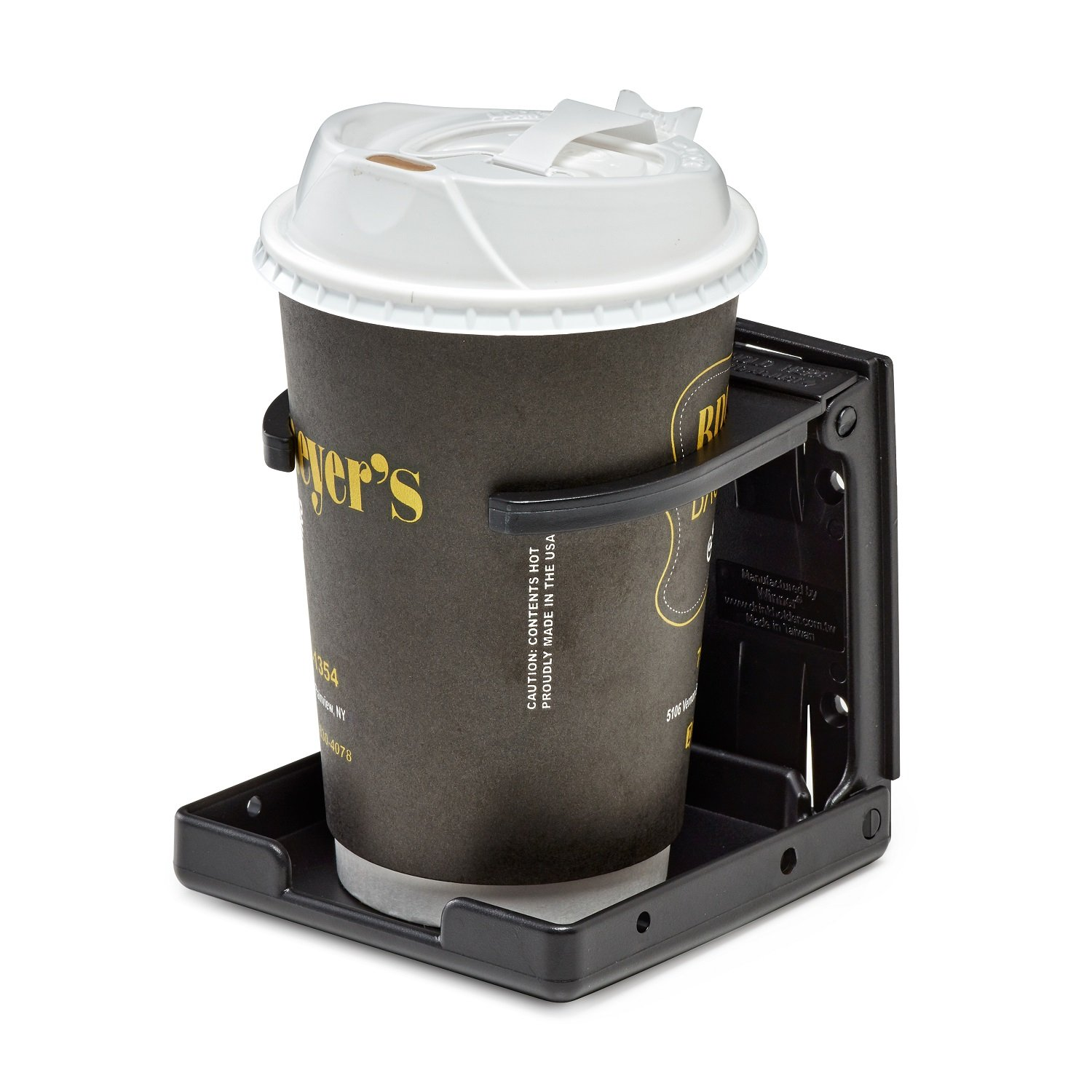 AdirMed Universal Drinking Cup Holder - For Any Kind Of Strollers, Walkers, Bicycles, Wheelchairs, Rollator, Cane & Crutch (Black)