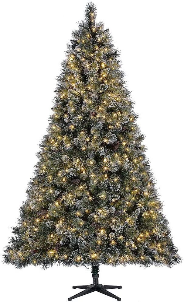 Home Accents Holiday 7.5 ft Sparkling Amelia Pine LED Pre-Lit Artificial Christmas Tree with Warm White Lights