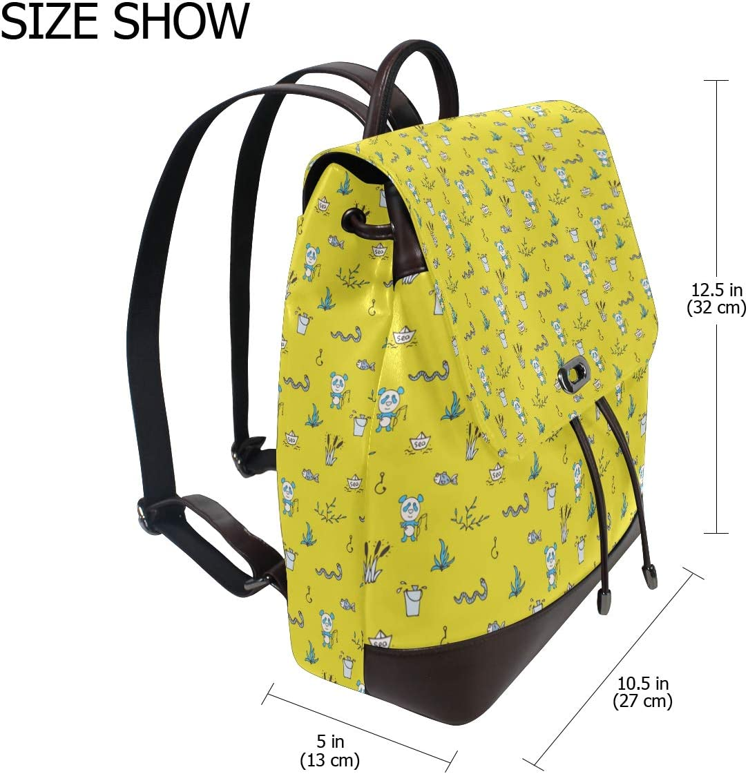 Leather Pandas Fishes Yellow Backpack Daypack Bag Women