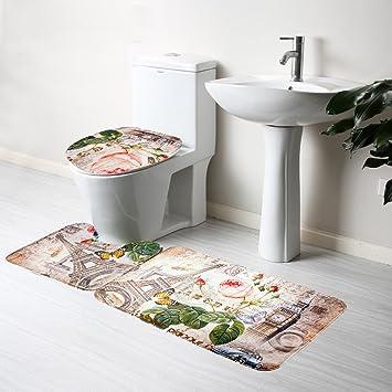 Badematten 3er Flanell Wc Badezimmer Teppich Set Badvorleger