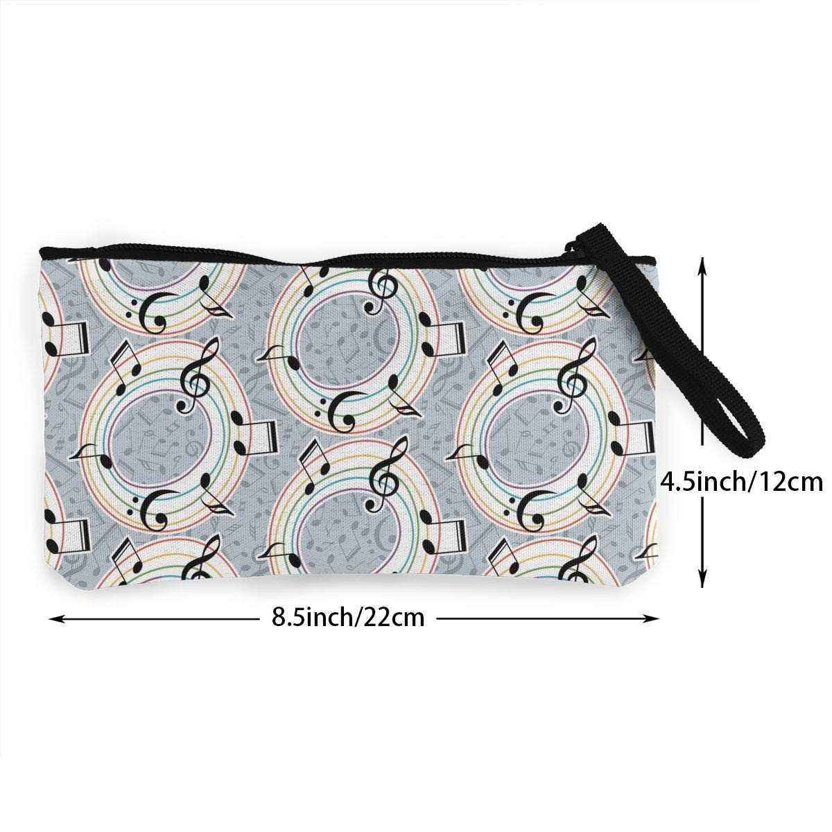 Zipper Small Purse Wallets Womens Canvas Coin Purse Cellphone Clutch Purse With Wrist Strap Musical With Notes Pattern