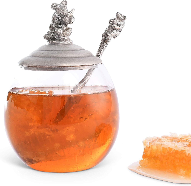 "Vagabond House Pewter Little Bear Glass Honey Pot/Jar 5"" Tall 12oz"