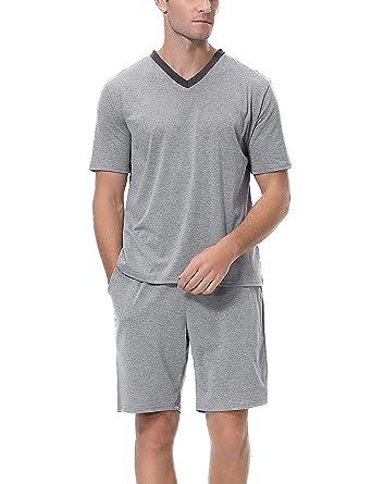 Herren Kurz Satin Schlafanzug Kurzarm Pyjama Set mit Shorts