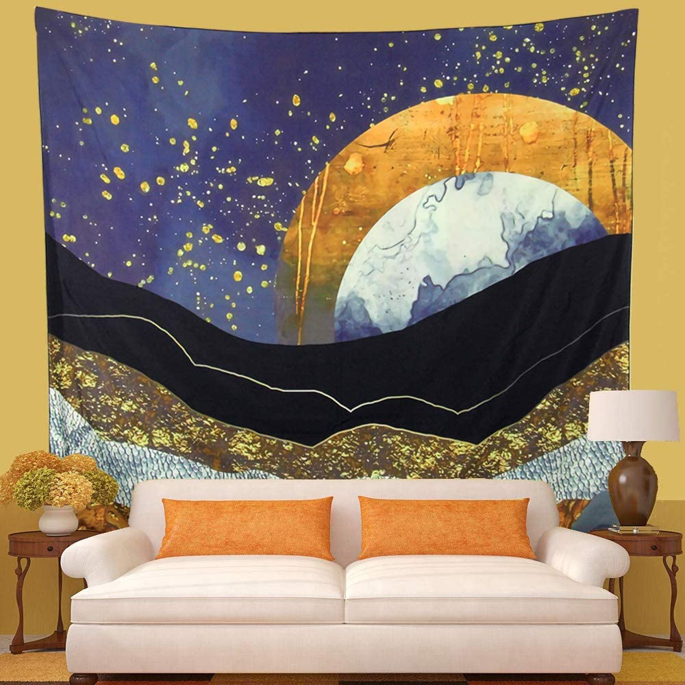Livebor Sun and Moon Tapestry Mountain Tapestry Moon Wall Tapestries Natural Wall Hanging Star Wall Art Wall Blanketfor Living room Dorm Decor Home Decorations(59.1inch x 51.2inch)