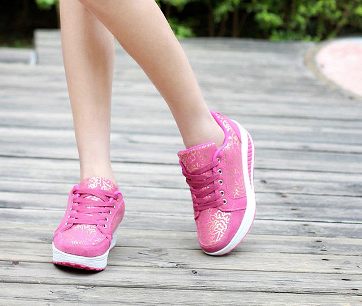 37fa39a8983d ... Solshine Damen Fashion Plateau Schnürer Sneakers mit Pink Keilabsatz  Walkmaxx Schuhe Fitnessschuhe Pink mit 3 665b9d ...