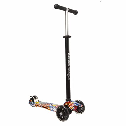 Deluxe 3-Wheel MAXI Scooter - Perfect for 6-10 Year Olds. Unique Designs plus Adjustable Handlebars and Light Up Wheels.