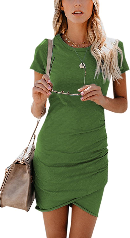 ECOWISH - Vestido de verano para mujer, cuello redondo, manga corta, estilo irregular