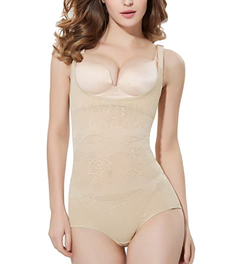 97902bd8e1ee2 Image Unavailable. Image not available for. Color  Tummy Control Body Shaper  High Waist Seamless Shapewear Women s Open Bust Firm Control Bodysuit