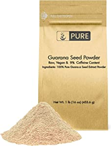 Natural Guarana Seed Powder, 1lb, Source of Caffeine, Energy Boosting, Raw & Vegan, Gluten-Free, Superfood, Lab Tested, Endurance & Cognitive Function, Eco-Friendly Packaging*