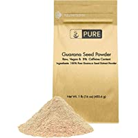 100% Natural Guarana Seed Powder Serving, Energy Booster, Standard 22% Caffeine, Raw, Vegan, No Gluten, Superfood, Lab…