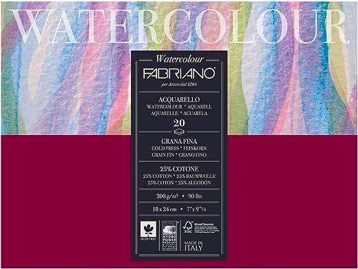 Unbekannt Fabriano 72611824 Acuarela Papel, algodón, Blanco, 18 x 24 x 0,5 cm: Amazon.es: Hogar