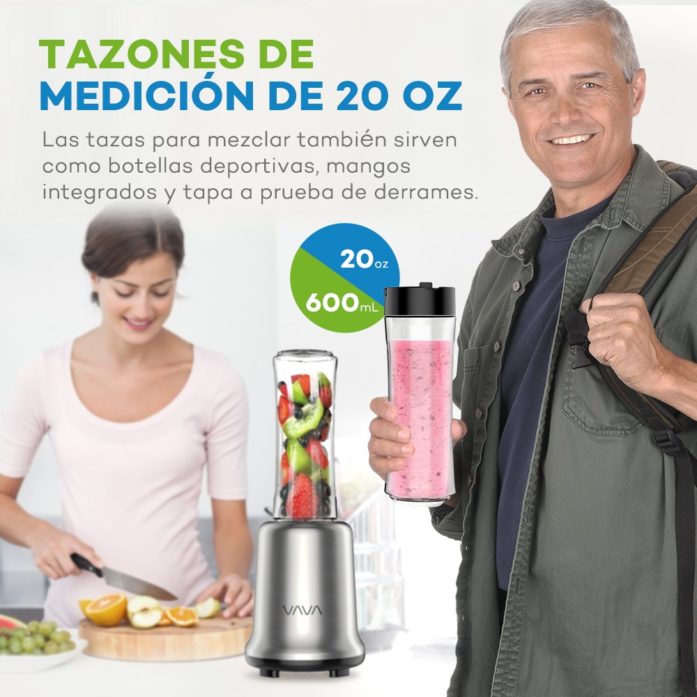 VAVA Mini Batidora Mix and Go con 2 Botellas (2 x 20 oz / 600 mL, 300W / 25000 RPM, Tazas sin BPA, Base de Acero Inoxidable, Hoja Desmontable): Amazon.es: ...
