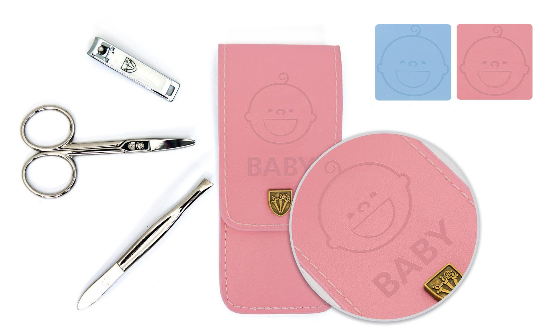 3 Swords Germany – brand quality 3 piece manicure pedicure kit set for BABY/TODDLERS / CHILDREN/INFANTS nail care scissors tweezers clipper fashion leather case GIRL PINK in gift box (67413)