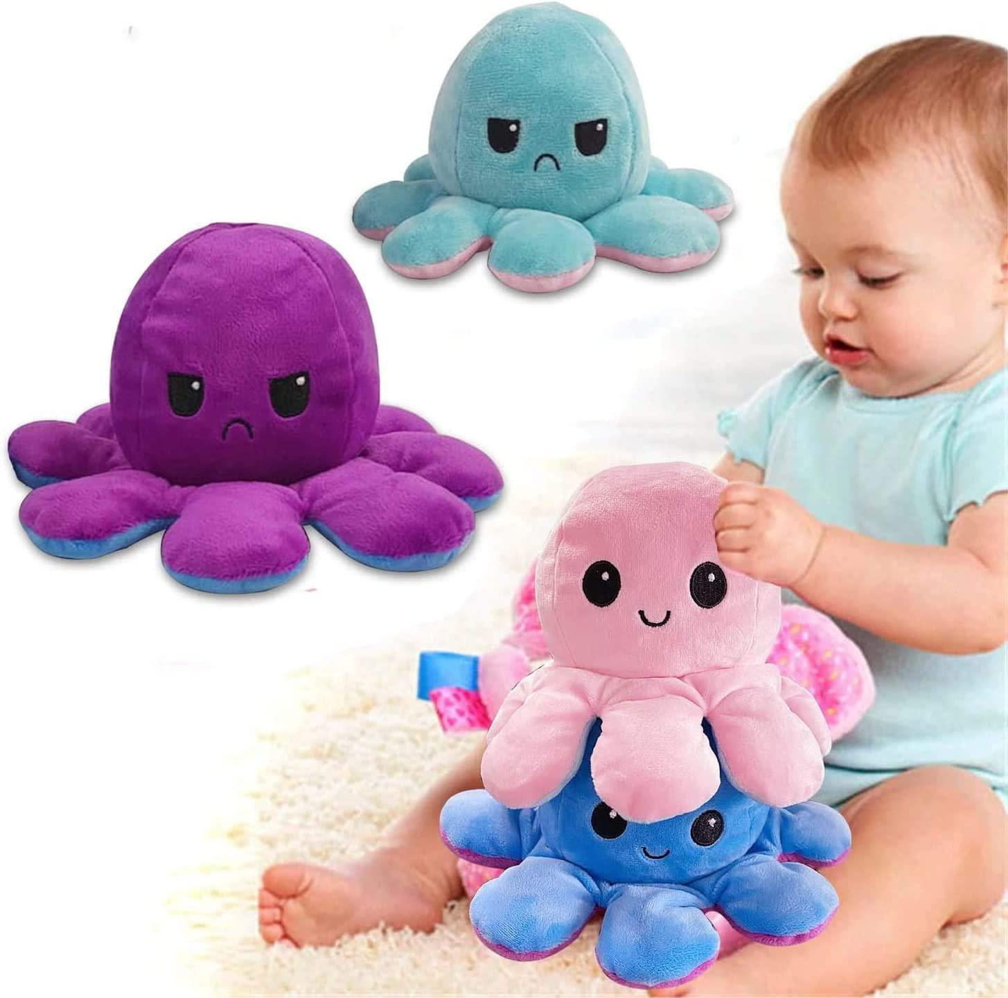 Hirsrian Niedliche Octopus Pl/üschtiere Doppelseitige Flip Octopus Puppe