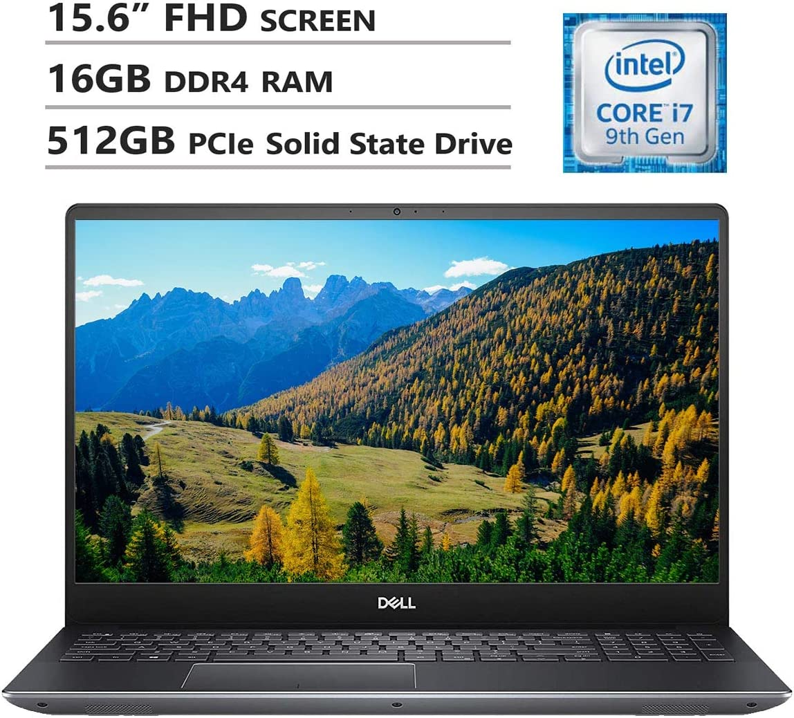 "Dell Vostro 7590 15.6"" Full HD Screen Laptop, Intel Core i7-9750H Up to 4.5GHz, NVIDIA GeForce GTX 1050, 16GB DDR4 RAM, 512GB PCIe SSD, Wireless-AC, HDMI, USB Type-C, USB 3.1, Windows 10 Pro, Gray"