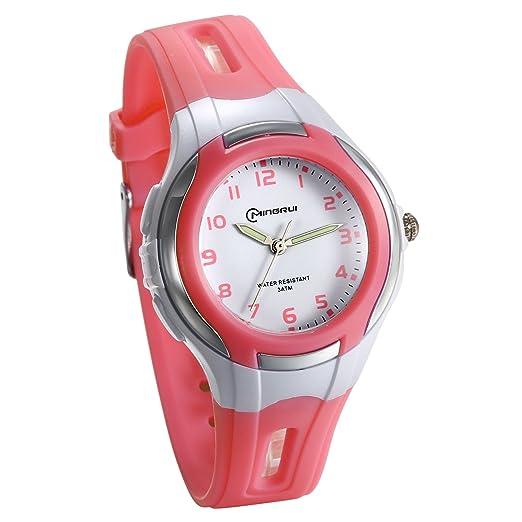JewelryWe Relojes para Niñas Reloj Analógico Deportivo Digital para Aire Libre Reloj A Prueba de Agua 3ATM Correa de PVC Reloj de Colores para El Verano, ...