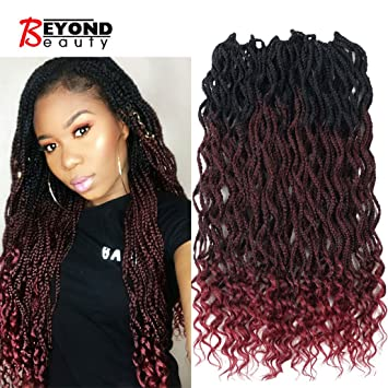 Goddess Box Braids Crochet Braids Hair with Curly ends Synthetic Kanekalon  Fiber Braiding Hair 24 Inch 6pack/lot(1B,Bug)