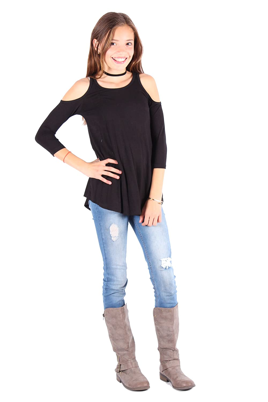 5c3470db8a0313 Amazon.com  Lori Jane Cold Shoulder Girls Tops  Clothing