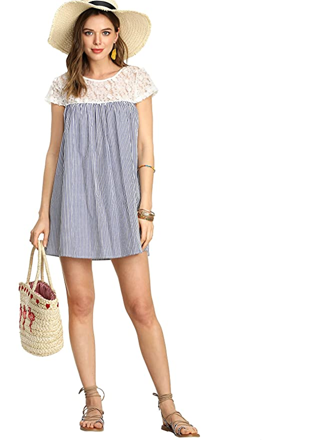 57c3a96803 Amazon.com: SheIn Women's Casual Lace Patchwork Cap Sleeve Striped Swing  Dress: Clothing