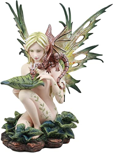 Ebros Large Nude Tribal Forest Fairy Feeding Dragon Statue 13 Tall Fantasy Mythical FAE Pixie with Red Blood Dragon Figurine