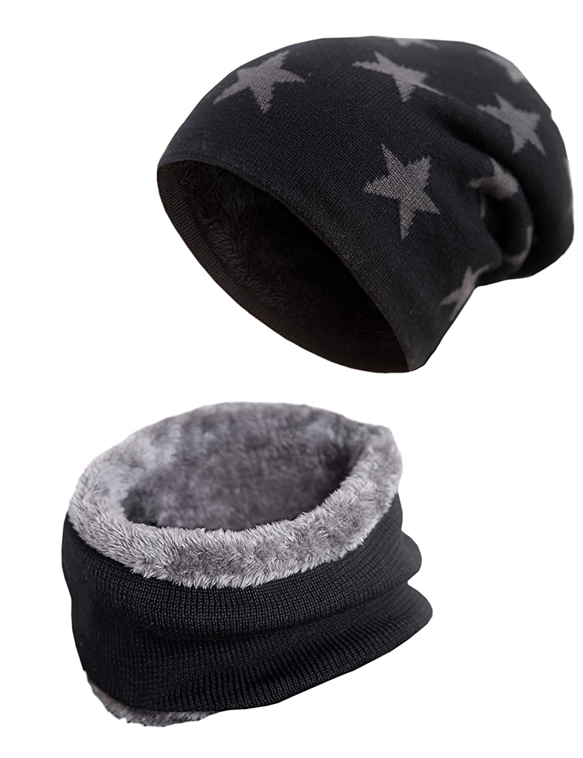 Mens Beanie Hat Scarf Set Warm Knit Skull Cap for Winter by MissShorthair F186C-1m