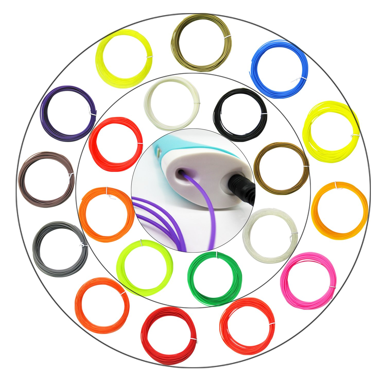 3D Printing Pen Filament 20 Different Colors 32.8 Feet Each for 3D Printer Pen i-CHONY 3D Pen Filament Refills PLA 1.75 mm 656 Feet Total XJX i-CHONY