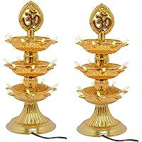 Varshine 3 Layer Electric Gold LED Bulb Lights Diya Deep Deepak for Pooja Puja Mandir Diwali Festival Decoration Pack of 2 D-04