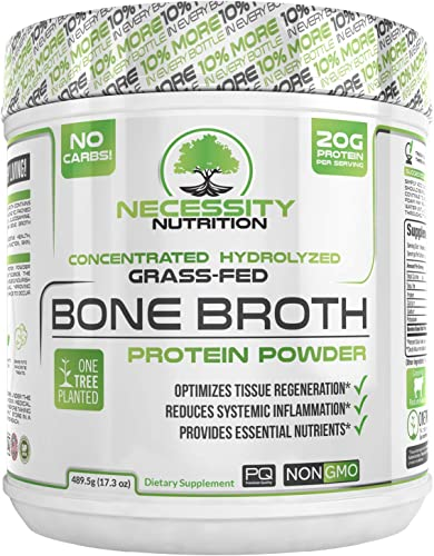 Bone Broth Collagen Protein Powder - Natural Pure Paleo Keto Friendly Gluten Free, Low Carb Non GMO Grass Fed Pasture Raised Bovine, Premium Gut Health