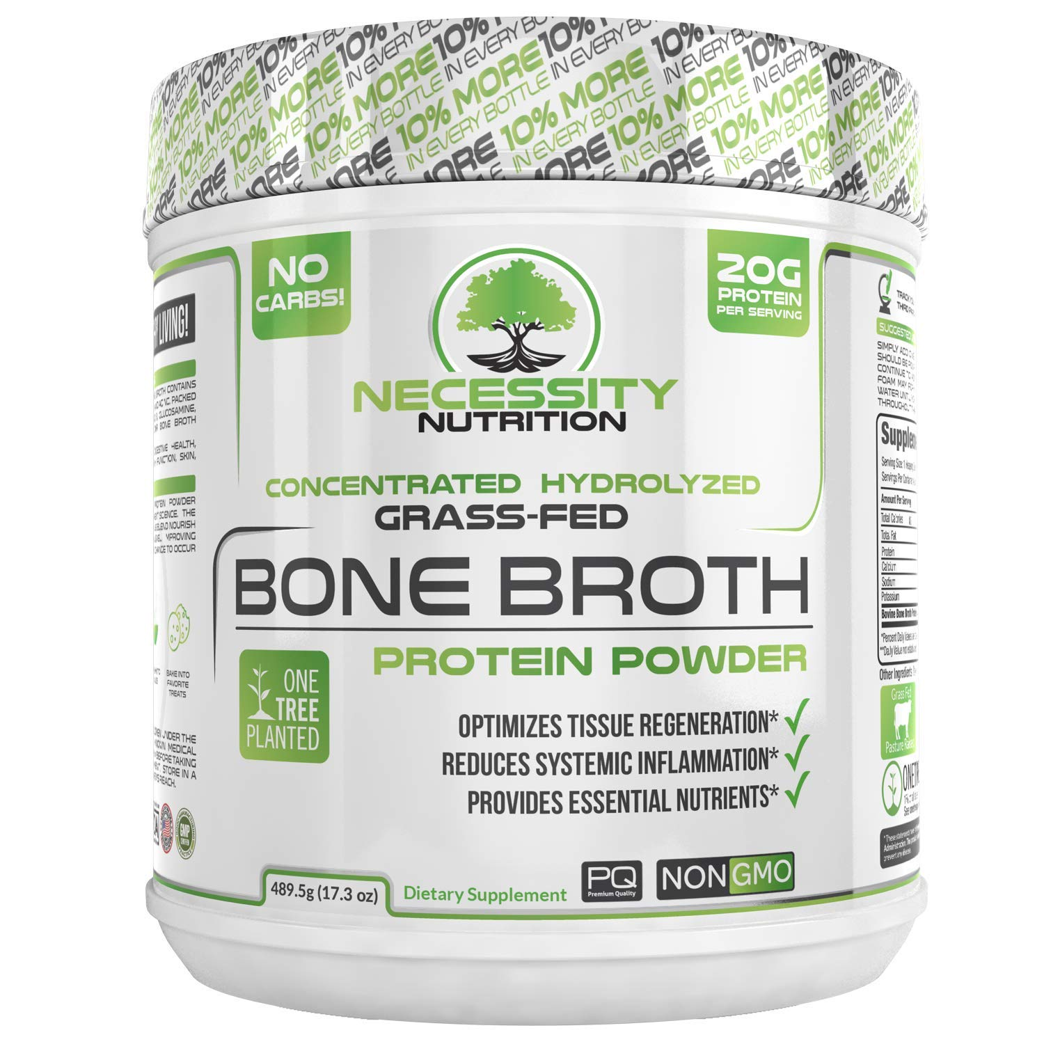 Bone Broth Protein Powder - Natural & Pure Paleo/Keto Friendly Gluten Free - Grass Fed Pasture Raised Non GMO - Premium Gut Health by Necessity Nutrition