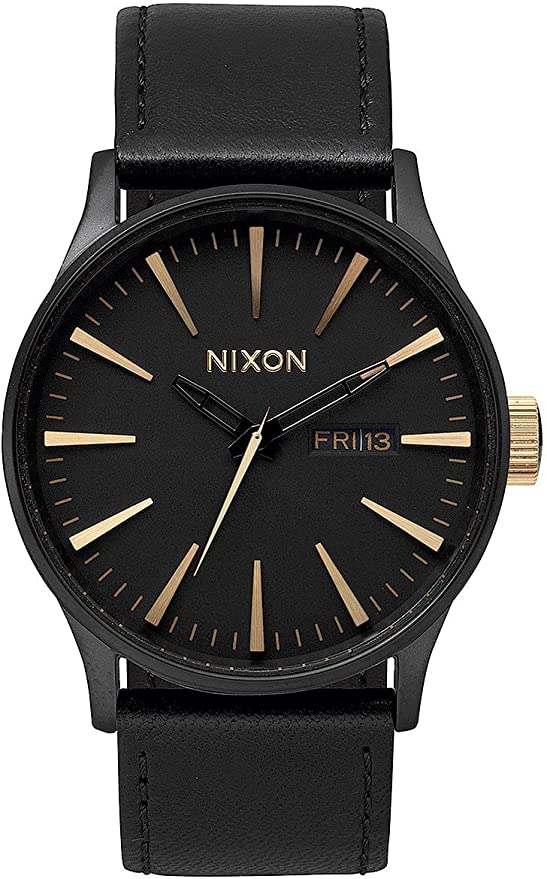 NIXON Sentry Leather -Spring 2017- Matte Black/Gold