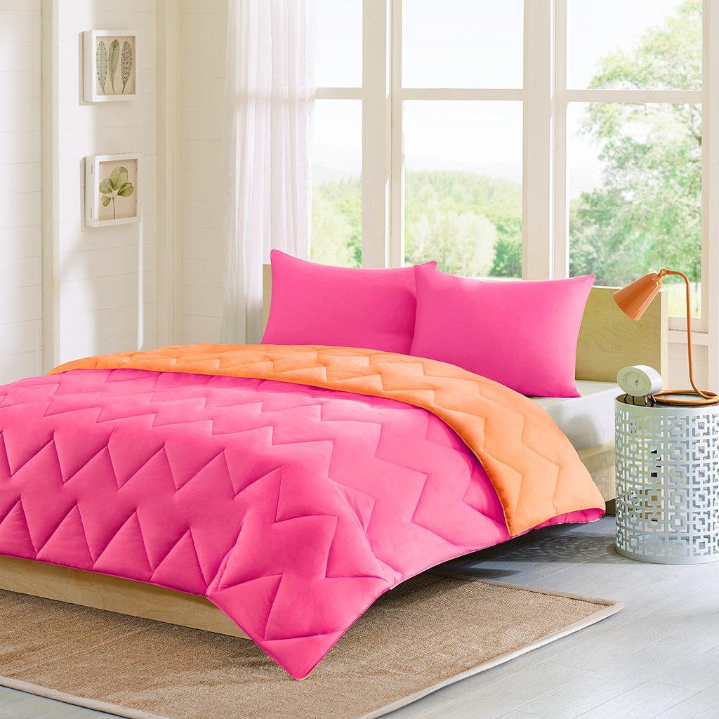 amazoncom intelligent design trixie reversible down alternative comforter mini set full queen pink orange home u0026 kitchen
