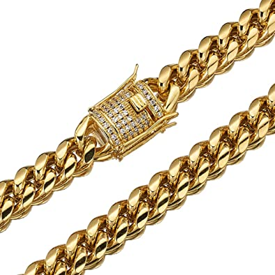 """Mens Stainless Steel Gold Pendant Necklace Chain Link 20/"""" 22/"""" Miami Cuban Choker"""
