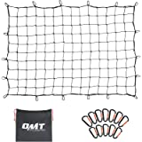 OrionMotorTech 3'x4' to 6'x8' Heavy Duty Latex Cargo Net with 12 Tangle-Free D Clip Carabiners + 12 Nylon Hooks, Small 4…