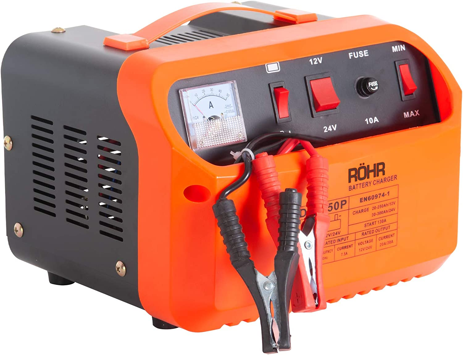 Röhr Car Battery Charger 45 Amp 12V 24V DFC 50P Intelligent TurboTrickle with Battery Repair, Maintain and Jump Start Technology