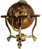 """Unique Art Since 1996 14"""" Tall Amber Pearl Gold Stand Gem Gemstone World Map Globe Globes Maps"""
