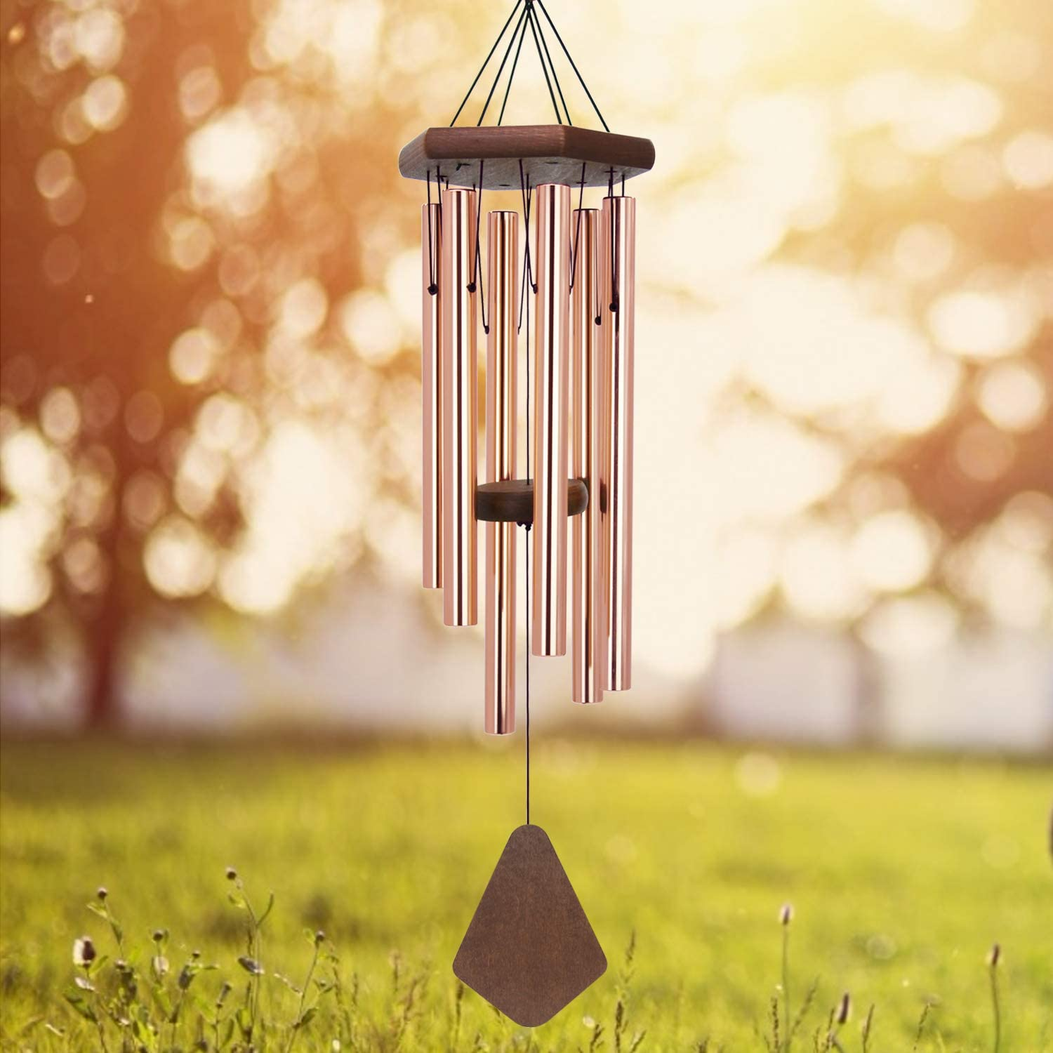 ASTARIN Memorial Wind Chimes Outdoor Deep Tone, 30 Inch Sympathy Wind Chime Outdoor, Weeding Wind-Chime Personalized with 6 Tuned Tubes, Elegant Chime for Garden Patio Balcony and Home, Rose Golden